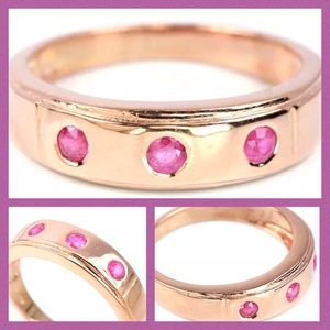 SIMPLE ELEGANT MOTHERS DAY PINK RUBY SILVER .925 -